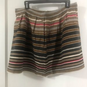 Cotton striped skirt with back ribbon zipper pull